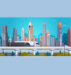 Modern city landscape background with semi truck vector