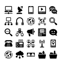 network and communication icons 12 vector image