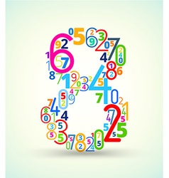 Number 8 colored font from numbers vector