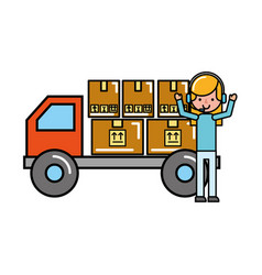 operator girl truck packages online shopping vector image