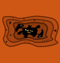 paper cut style halloween background with dark vector image