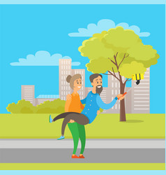 pensioners taking selfie in city park autumn fun vector image