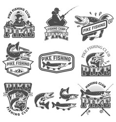 Pike fishing club emblems design element for logo vector