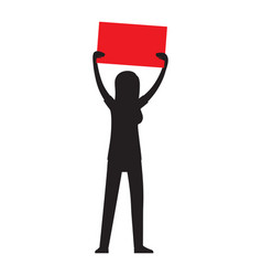 Protesting woman silhouette with billboard vector