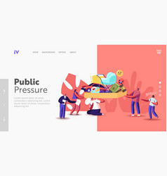 Public pressure landing page template tiny vector