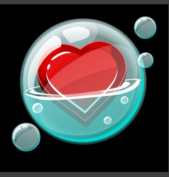 Red heart icon in a big soap bubble vector