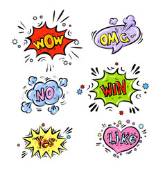 retro comic speech bubbles set with colorful vector image