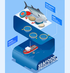 sea food production infographics vector image