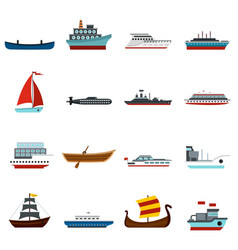 Sea transport set flat icons vector