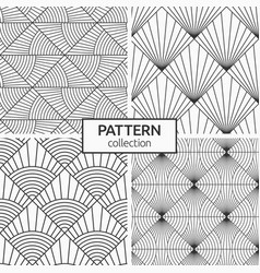 Set abstract geometric seamless patterns vector