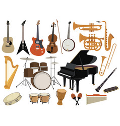 set musical instruments collection cartoon vector image