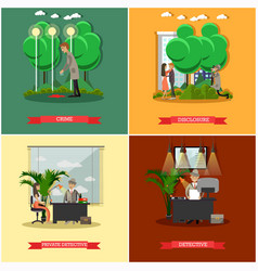 set of detective posters in flat style vector image