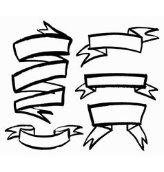 Set of hand-drawn ribbons vector image