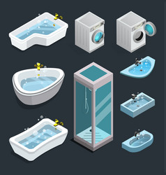 set of isometric isolated bathroom interior icons vector image
