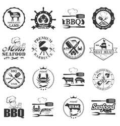 set of seafood labels and butcher shop labels vector image