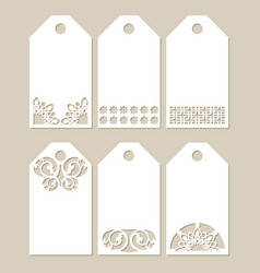 Set stencil labels with carved pattern vector