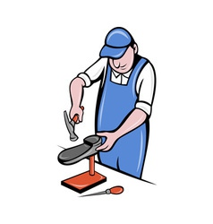 Shoemaker cobbler shoe repair working vector