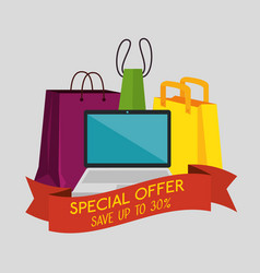 shopping bags with laptop to special sale offer vector image