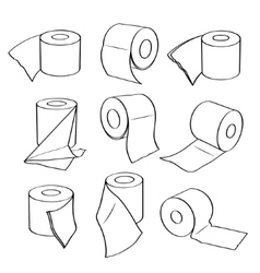 Simple set icons of toilet paper rolls vector