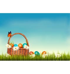 Spring Easter background Basket with Easter eggs vector