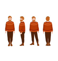 Stout bearded redhead man in woolen jumper fat vector