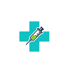 Syringe medicine logo icon design vector