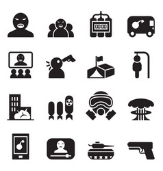 Terrorist killer assassin icons set vector