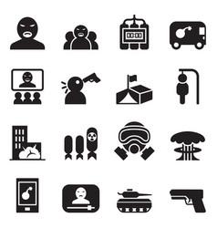 terrorist killer assassin icons set vector image