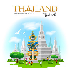 thai giant with arun temple in bangkok thailand vector image