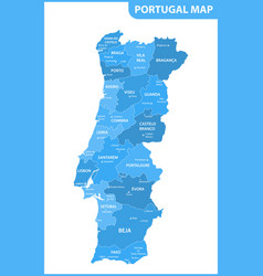 The detailed map of the portugal with regions or vector