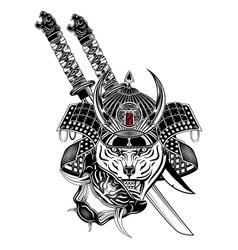 Tiger samurai blak 1 vector