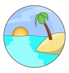 Tropical ocean island with palm tree icon vector