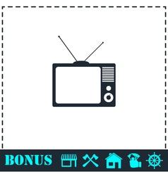 TV icon flat vector