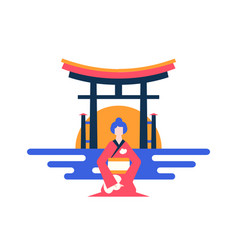 visit japan - colorful flat design style vector image