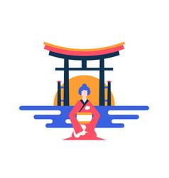 visit japan - colorful flat design style vector image