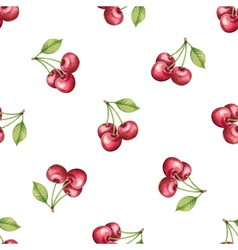 Watercolor pattern fruit cherry vector