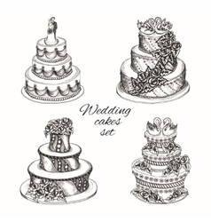 Wedding cakes set vector image