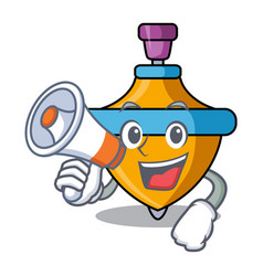 With megaphone spinning top character cartoon vector