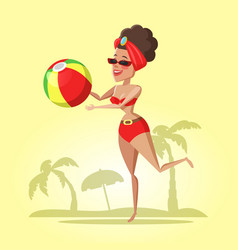 beautiful young woman with ball on the beach vector image
