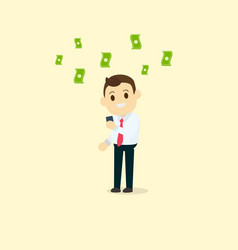 businessman use smart phone getting income vector image