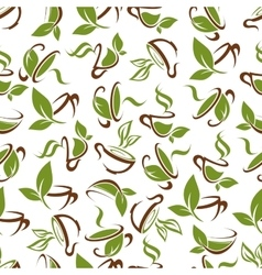 Cups of tea with green leaves seamless pattern vector image
