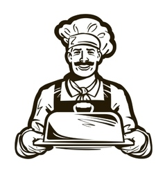 drawing of a chef with hat and hot plate tray vector image