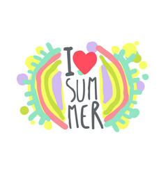 i love summer colorful logo template original vector image
