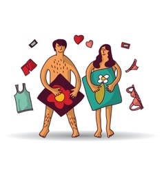 Man and woman couple naked sex relations isolated vector image vector image