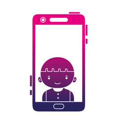 silhouette smartphone technology with boy person vector image vector image