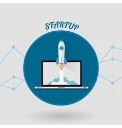 Start Up Concept Space Roket Modern Flat Design vector image