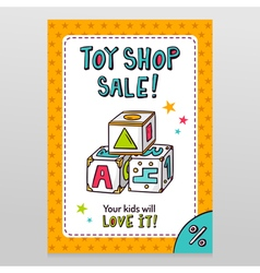 Toy shop sale flyer design with toy blocks for vector image vector image