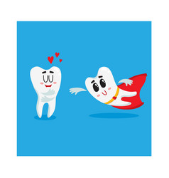 two funny tooth characters one as superhero vector image