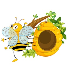 A big fat bee near the beehive vector image