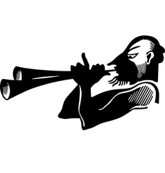 Antique horn player vector image vector image
